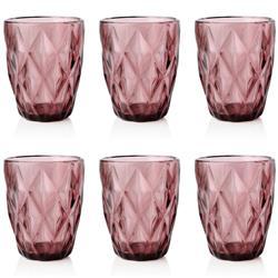 Komplet 6 różowych szklanek 250ml