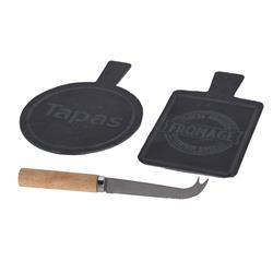 Zestaw desek do serów kamiennych z nożem