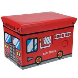 Pojemnik na zabawki z pufą Fire Truck