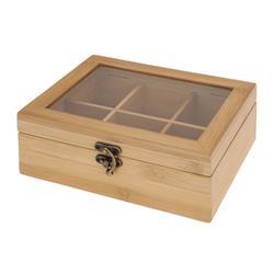 Bambusowy pojemnik na herbatę 6 przegród