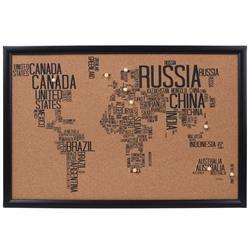 Tablica korkowa mapa świata wzór 2