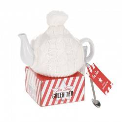 Zestaw czajnik w białym sweterku