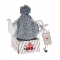 Zestaw czajnik w szarym sweterku