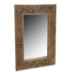 Drewniane lustro ścienne brąz 70x50 cm