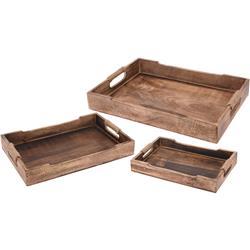 Komplet 3 drewnianych tac z oplotem