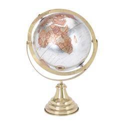 Dekoracyjny globus świata srebrny 38 cm