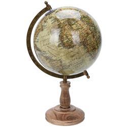 Dekoracyjny globus świata beżowy 38 cm