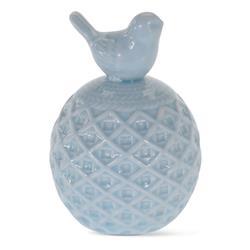 Figurka ptaszek na kuli błękit ceramika
