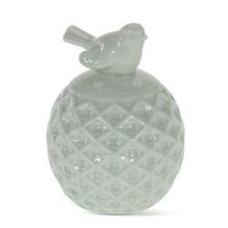 Figurka ptaszek na kuli zieleń ceramika