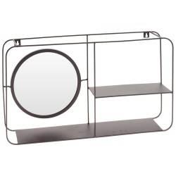 Półka ścienna z lustrem czarna metalowa