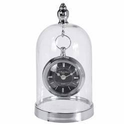 Zegar metalowy srebrny w szklanej kopule