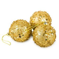 Bombki choinkowe złote 3 szt wzór 1