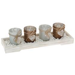 Komplet 4 świeczników na podstawce biały