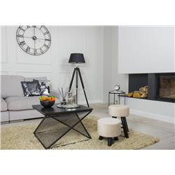 Pufa stołek Velvet na drewnianych nogach