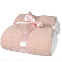 Koc Jersey 130x160 cm różowy