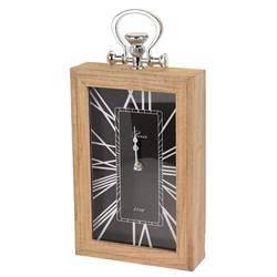 Zegar kominkowy - drewniany, czarny 39cm