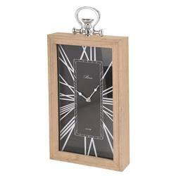 Zegar kominkowy - drewniany, czarny 43cm
