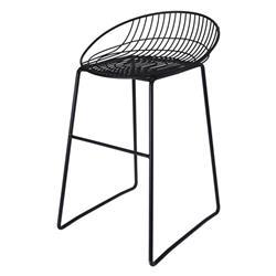 Druciane krzesło, stołek barowy, czarne