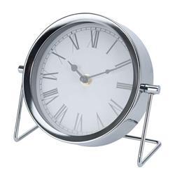 Zegar stołowy, okrągły, metalowy srebrny
