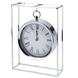 Zegar stołowy metalowy srebrny
