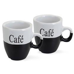 Komplet kubków do kawy biało czarne
