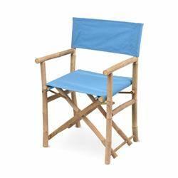 Krzesło składane bambusowe niebieskie