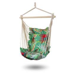 Fotel hamakowy w kwiaty zielony