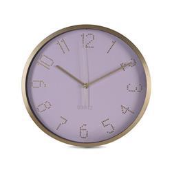 Zegar ścienny aluminiowy - różowa tarcza