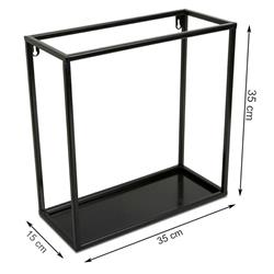 Półka wisząca ścienna metal czarna 35 cm