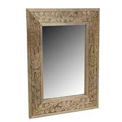 Drewniane lustro ścienne jasny brąz