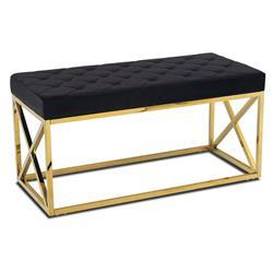 Pikowane siedzisko Nelja Gold Black