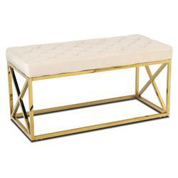 Pikowane siedzisko Nelja Gold White