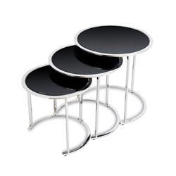 Komplet 3 stolików Vane Silver Black