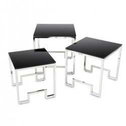 Komplet 3 stolików Sammen Silver Black