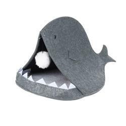 Domek dla kota w kształcie ryby szary