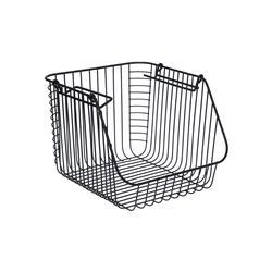 Koszyk metalowy czarny loft z rączkami