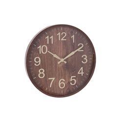 Zegar ścienny w imitacji drewna brąz