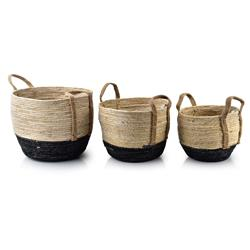Komplet 3 koszy Bali Round Handles Black