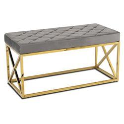 Pikowane siedzisko Nelja Gold Gray