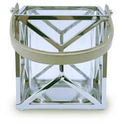 Lampion kwadratowy ze stali wys. 21 cm