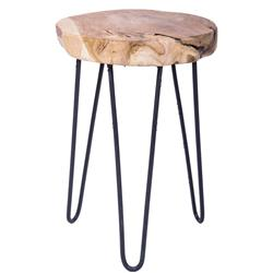 Drewniany stołek z metalowymi nogami