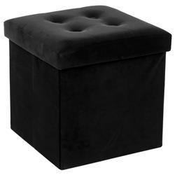 Pufa pikowana Adaline Black 38x38 cm