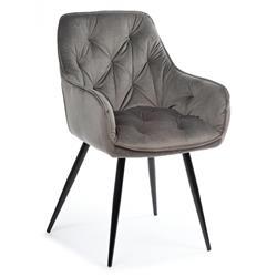 Krzesło pikowane Hana Black Dark Gray