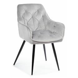 Krzesło pikowane Hana Black Light Gray