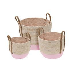 Zestaw 3 koszy z uchwytami beżowo-różowe