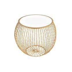 Stolik kawowy okrągły 41 cm złoto biały