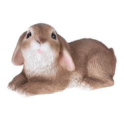 Figurka ogrodowa królik leżący brąz