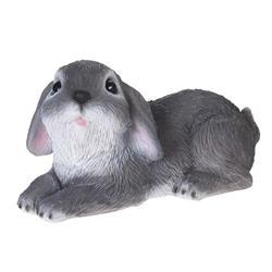 Figurka ogrodowa królik leżący szary