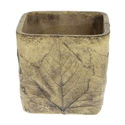 Donica cementowa z wzorem liści 10x10 cm