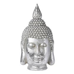 Figurka głowa Buddy srebrna 53,5x30 cm
